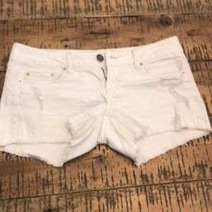 White Distressed American Eagle Jean Shorts